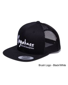 MEGABASS TRUCKER HAT - Brush Logo Black/White