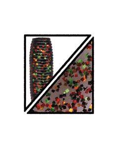 """Gary Yamamoto 4"""" SINGLE TAIL #180 SMOKE W/LG BLACK,RED,GREEN,ORANGE"""